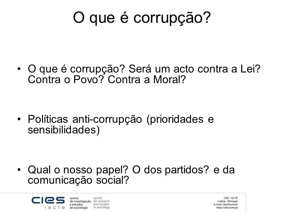 O que é corrupção O que é corrupção Será um acto contra a Lei Contra o Povo Contra a Moral