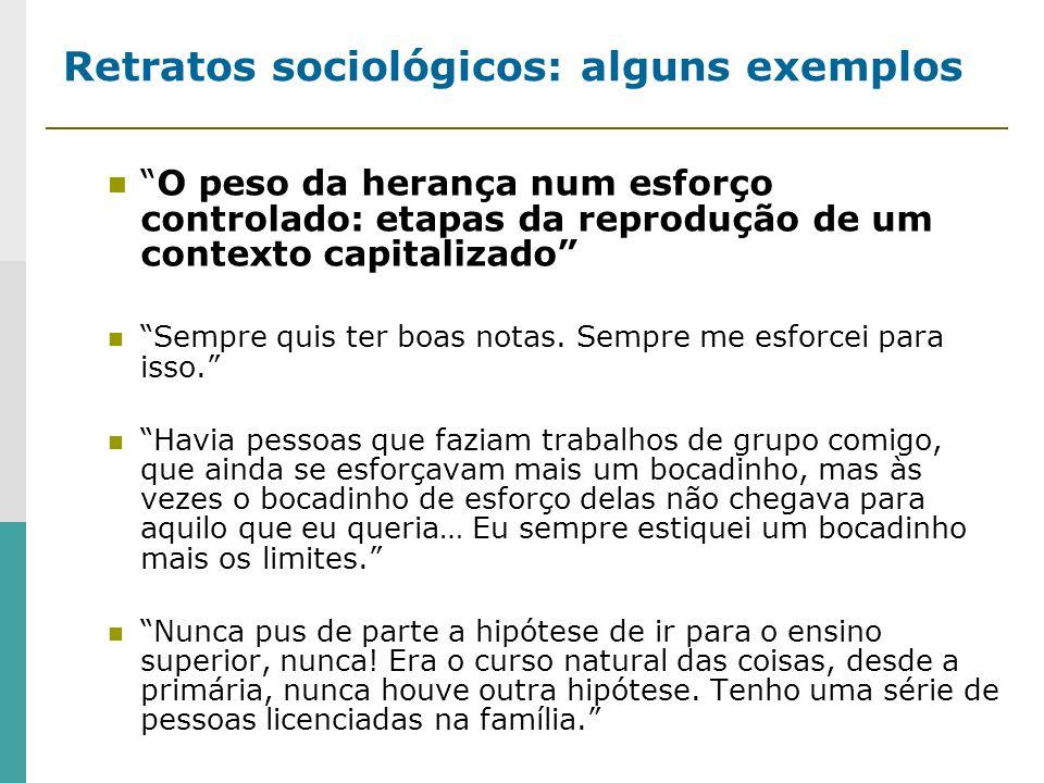 Retratos sociológicos: alguns exemplos