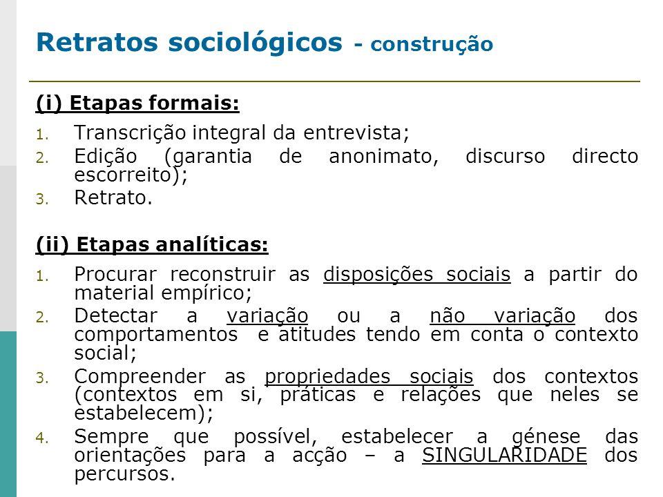 Retratos sociológicos - construção