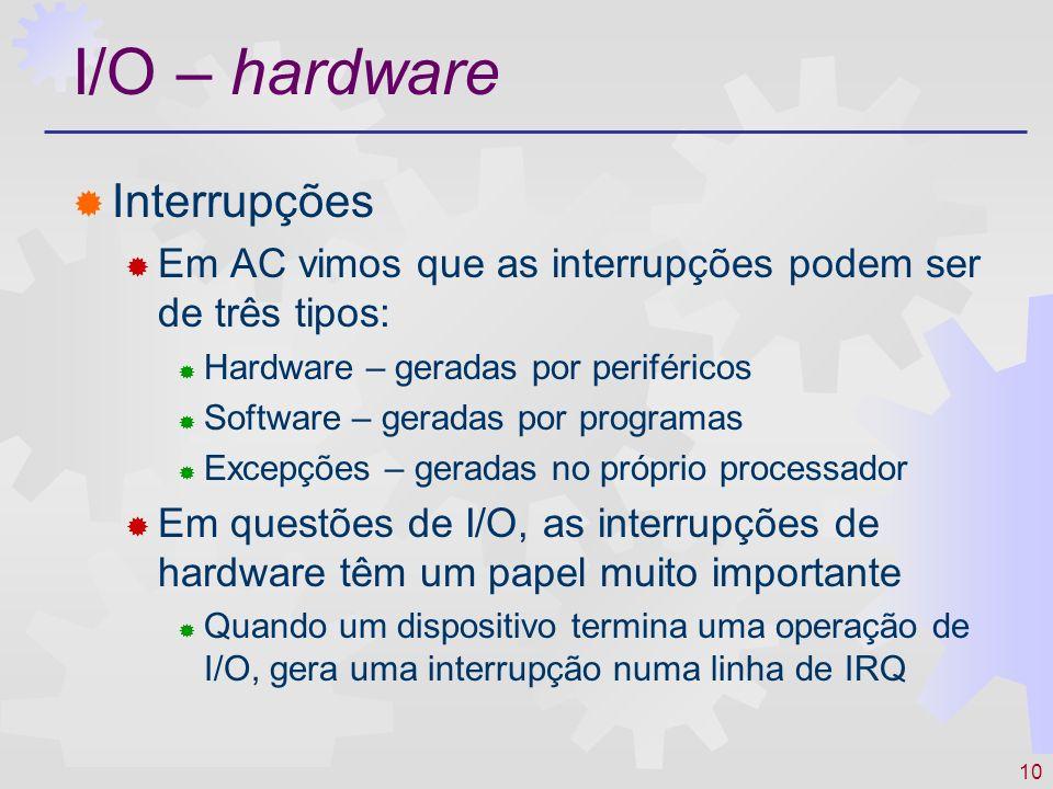 I/O – hardware Interrupções