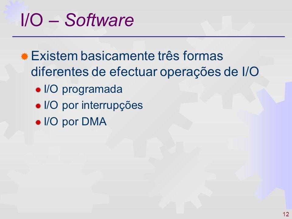 I/O – Software Existem basicamente três formas diferentes de efectuar operações de I/O. I/O programada.