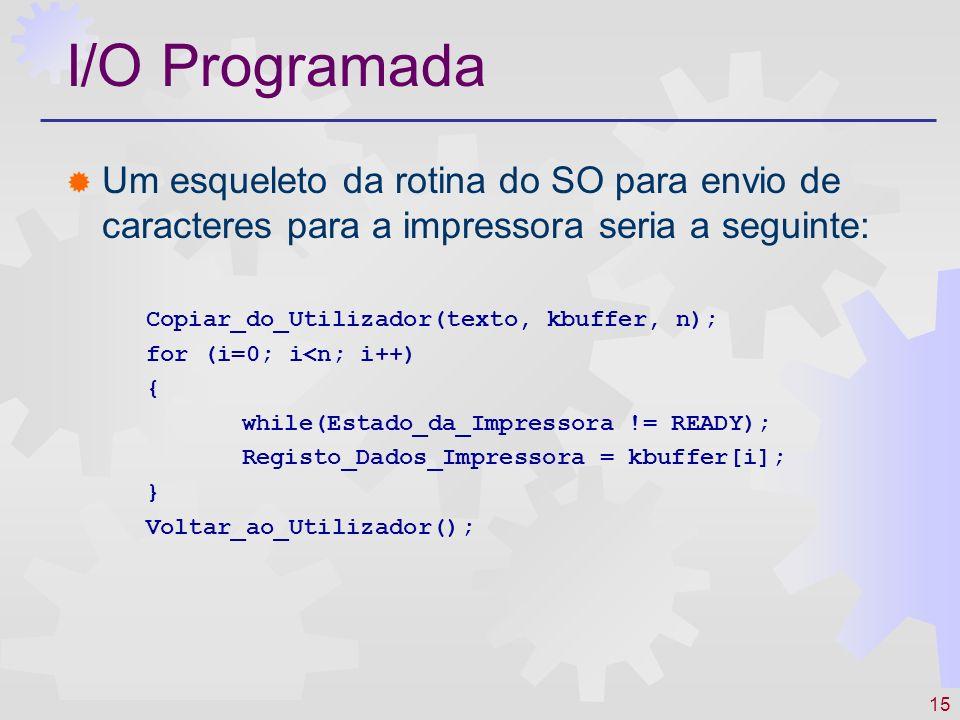 I/O Programada Um esqueleto da rotina do SO para envio de caracteres para a impressora seria a seguinte: