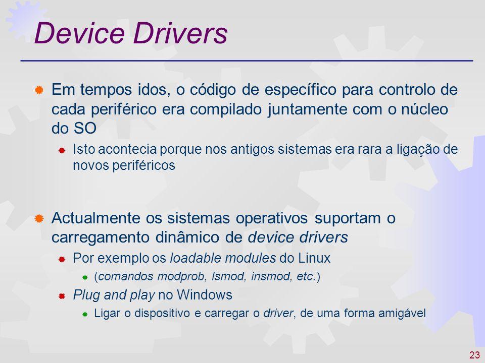 Device Drivers Em tempos idos, o código de específico para controlo de cada periférico era compilado juntamente com o núcleo do SO.