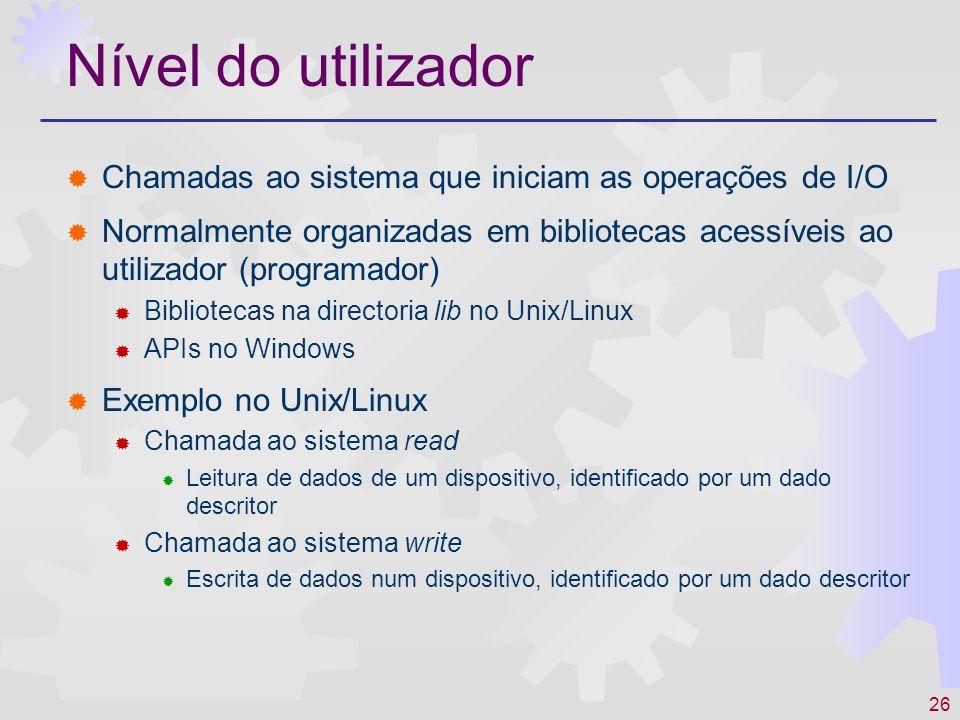 Nível do utilizador Chamadas ao sistema que iniciam as operações de I/O.