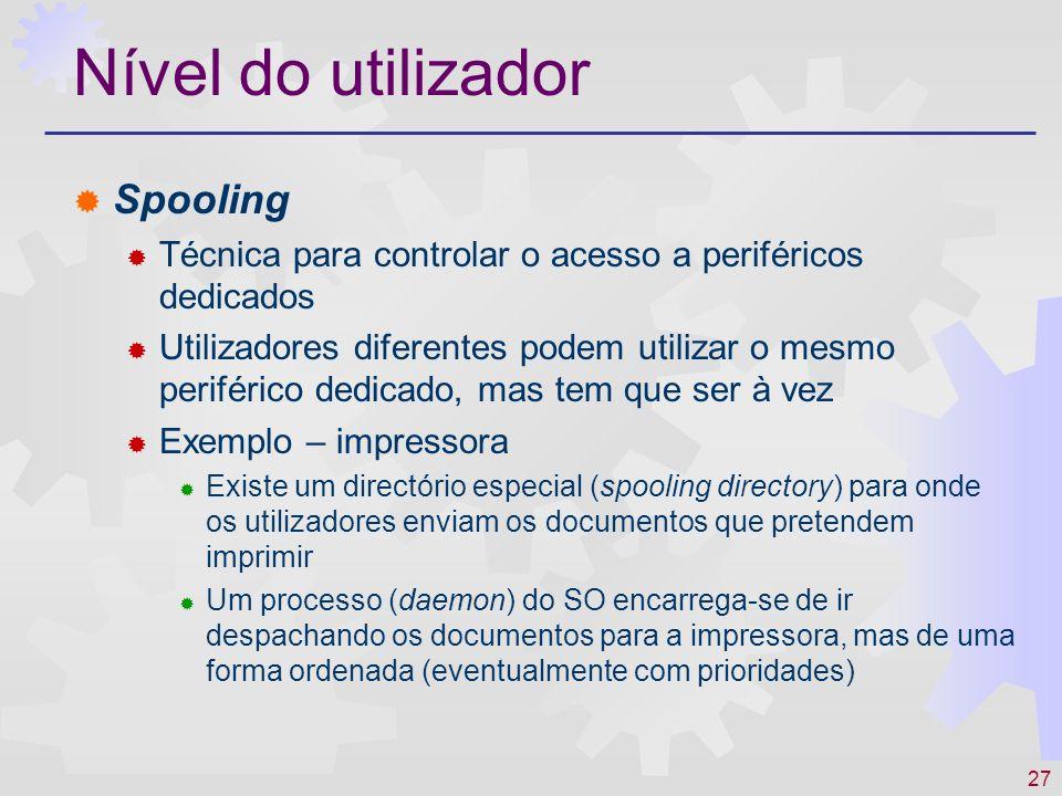 Nível do utilizador Spooling