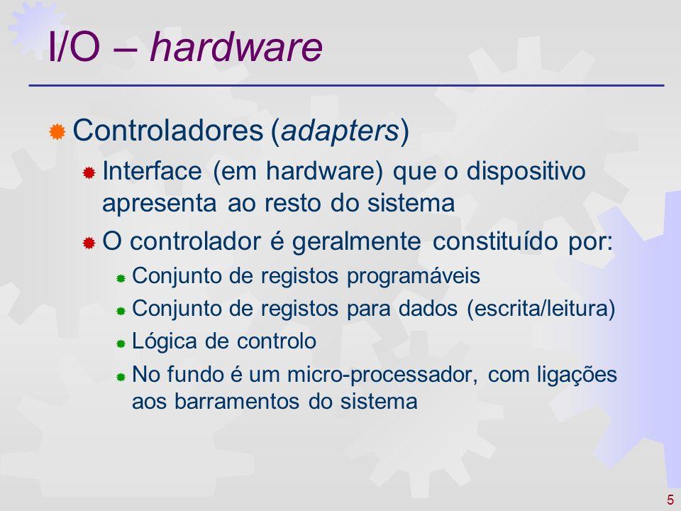 I/O – hardware Controladores (adapters)
