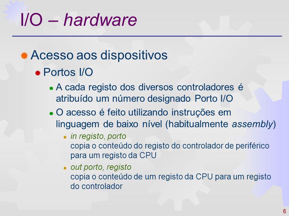 I/O – hardware Acesso aos dispositivos Portos I/O
