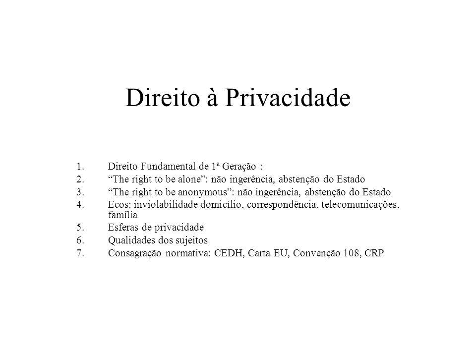 Direito à Privacidade Direito Fundamental de 1ª Geração :