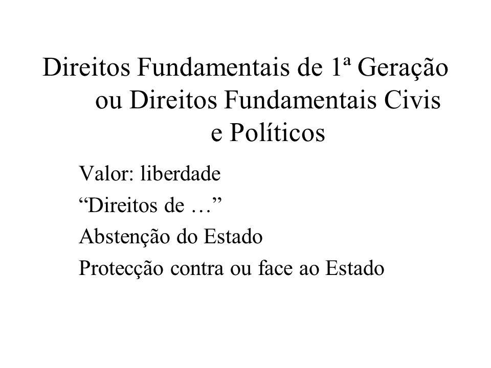 Direitos Fundamentais de 1ª Geração ou Direitos Fundamentais Civis e Políticos