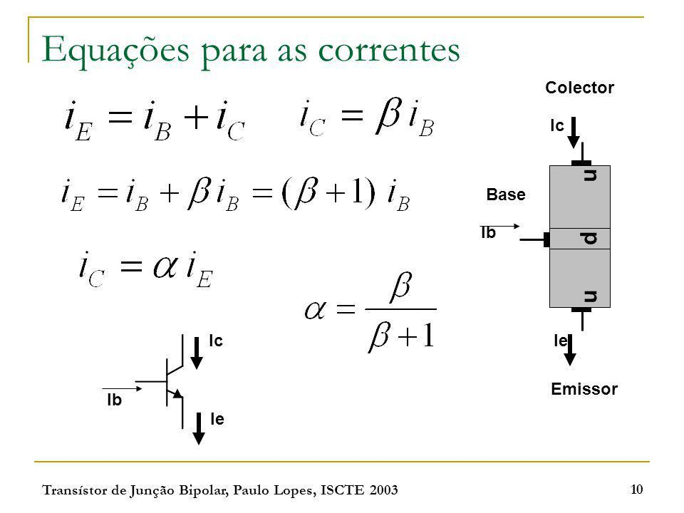 Equações para as correntes