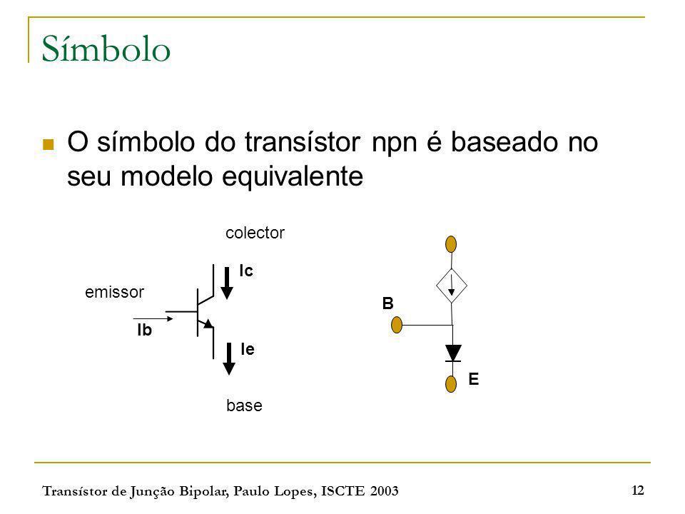 Símbolo O símbolo do transístor npn é baseado no seu modelo equivalente. colector. Ic. emissor. B.