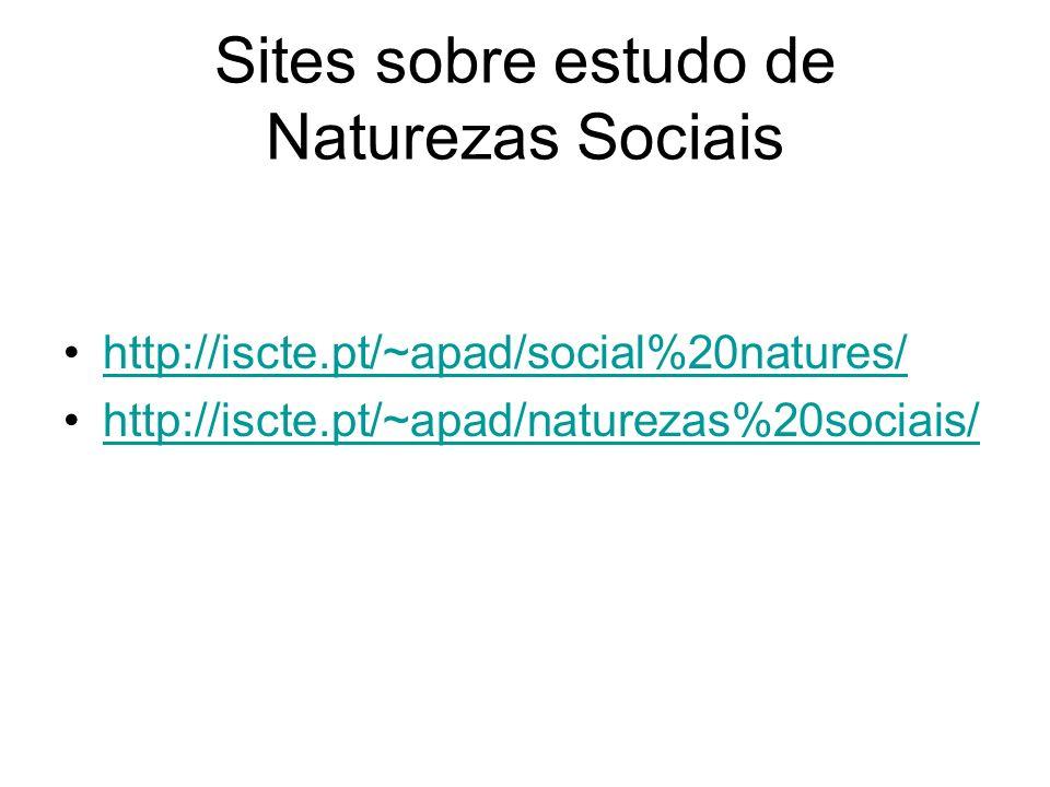 Sites sobre estudo de Naturezas Sociais