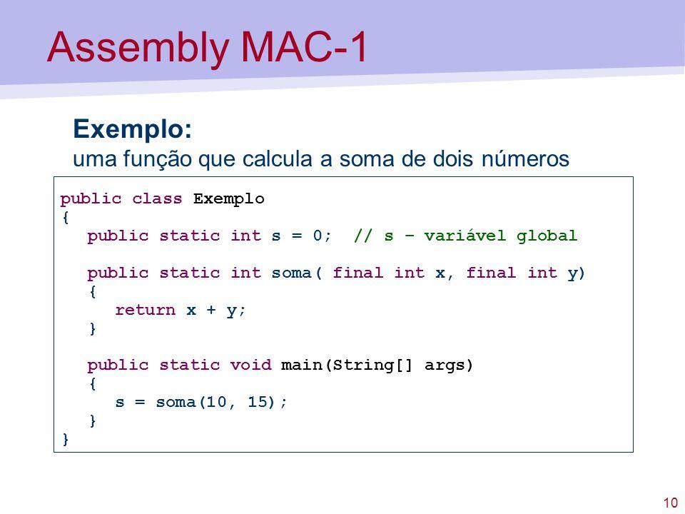 Assembly MAC-1 Exemplo: uma função que calcula a soma de dois números