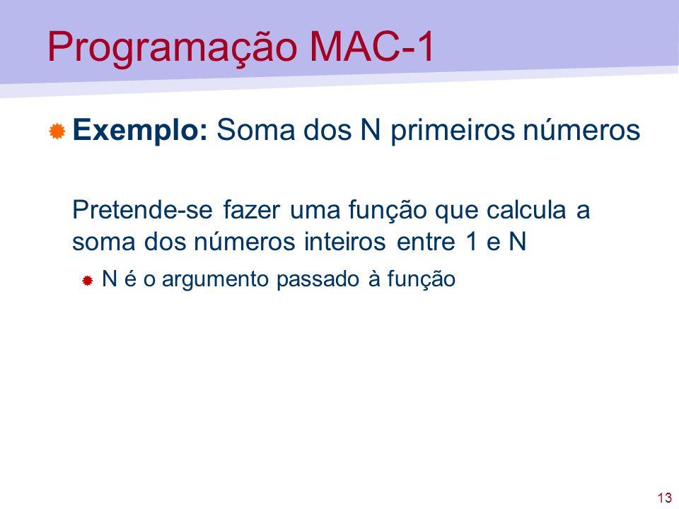 Programação MAC-1 Exemplo: Soma dos N primeiros números