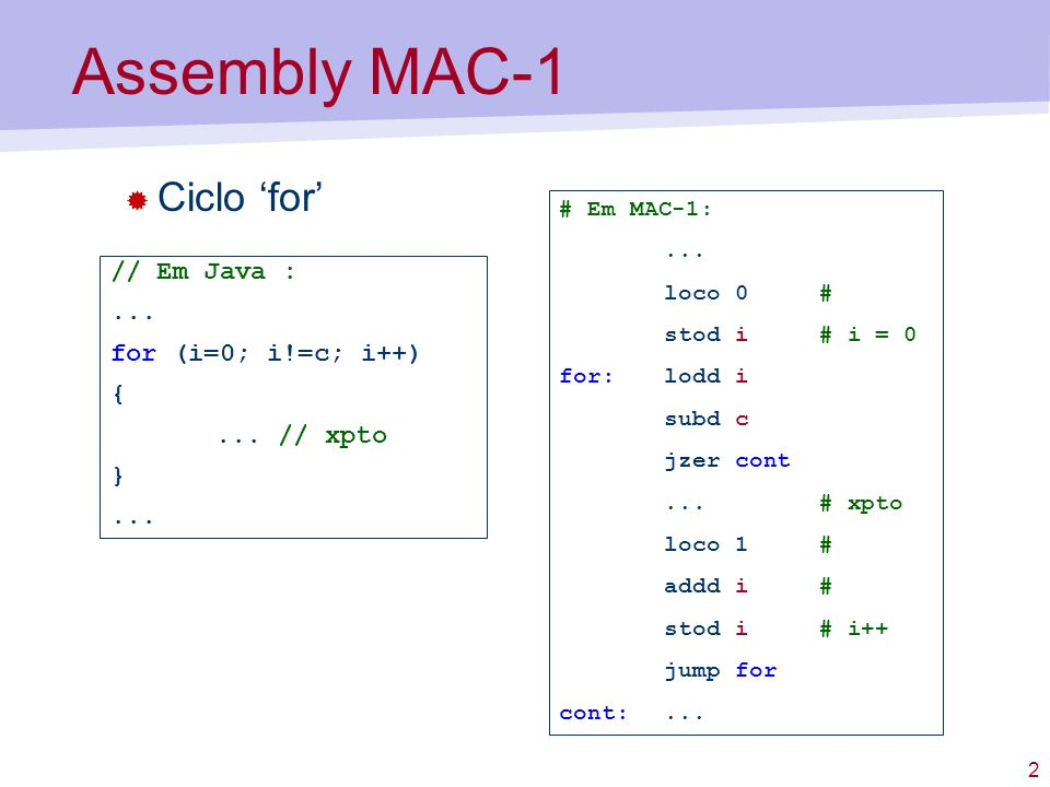 Assembly MAC-1 Ciclo 'for' // Em Java : ... for (i=0; i!=c; i++) {