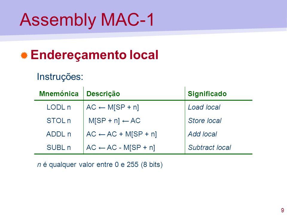 Assembly MAC-1 Endereçamento local Instruções: Mnemónica Descrição