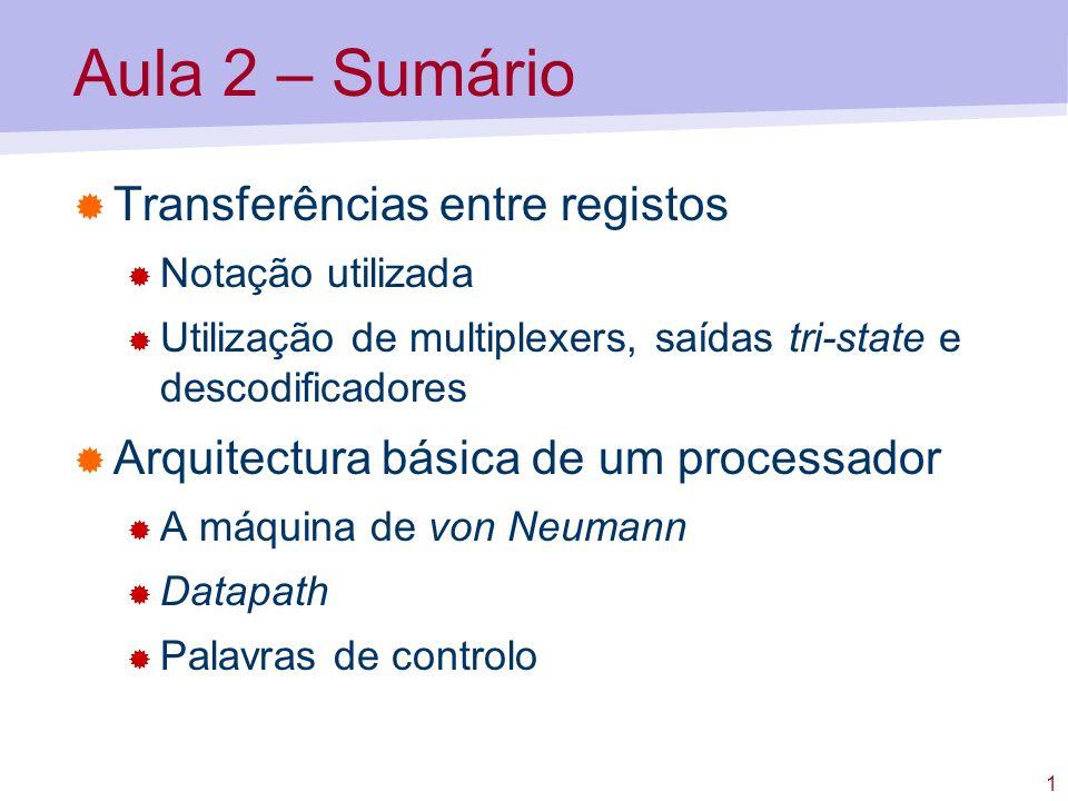 Aula 2 – Sumário Transferências entre registos