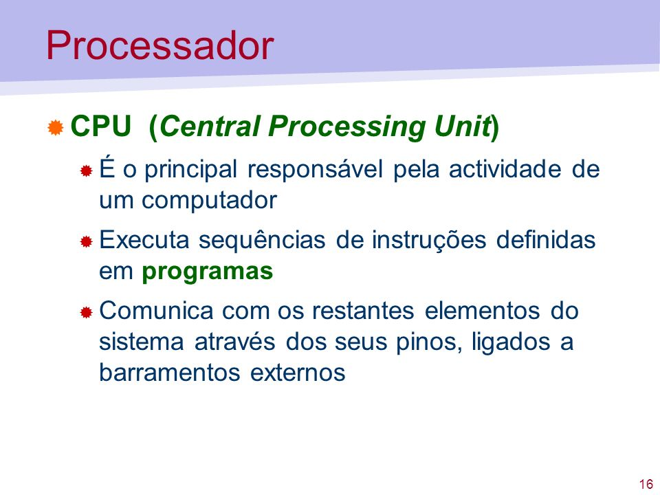 Processador CPU (Central Processing Unit)