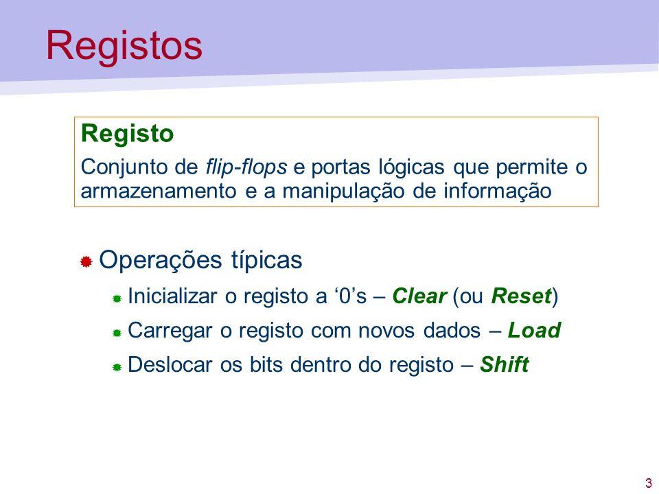 Registos Registo Operações típicas