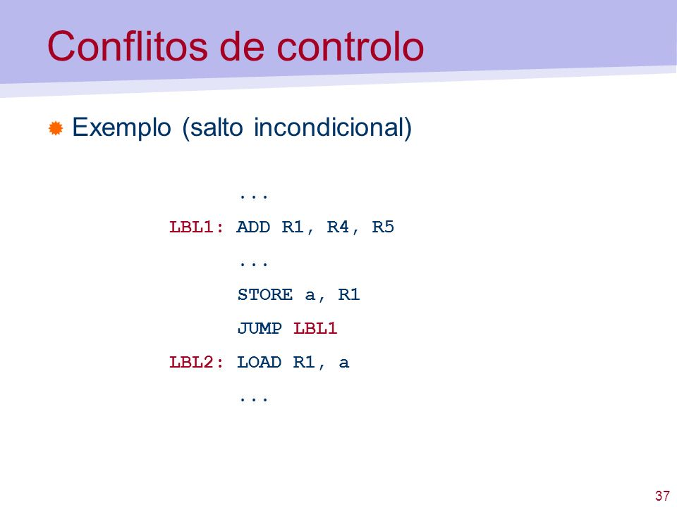 Conflitos de controlo Exemplo (salto incondicional) ...