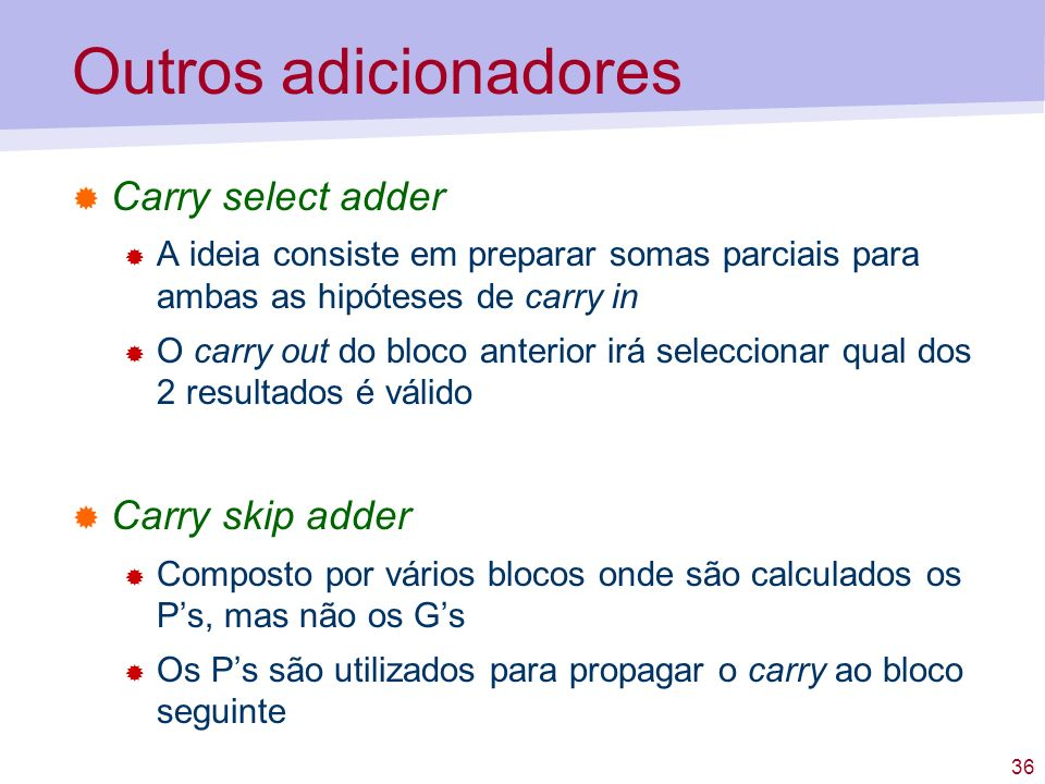 Outros adicionadores Carry select adder Carry skip adder