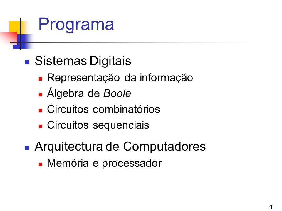 Programa Sistemas Digitais Arquitectura de Computadores