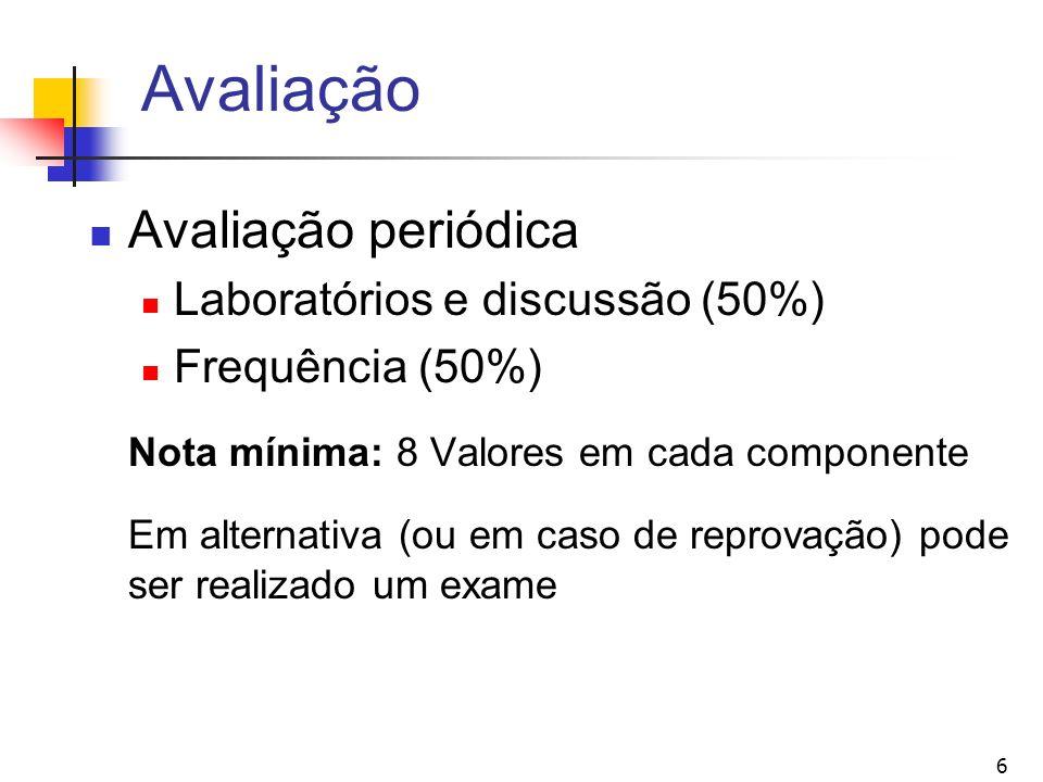 Avaliação Avaliação periódica Laboratórios e discussão (50%)