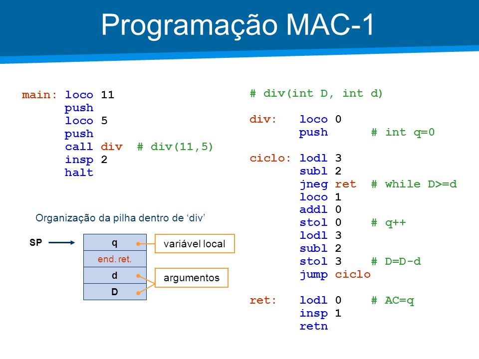 Aula 4 sum rio linguagem assembly do mac 1 a pilha ppt for Division 2 table 98 99
