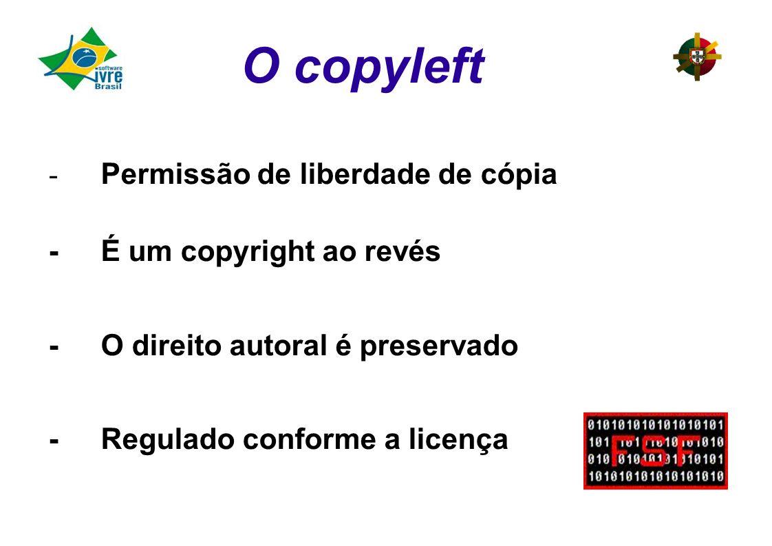 O copyleft - Permissão de liberdade de cópia - É um copyright ao revés