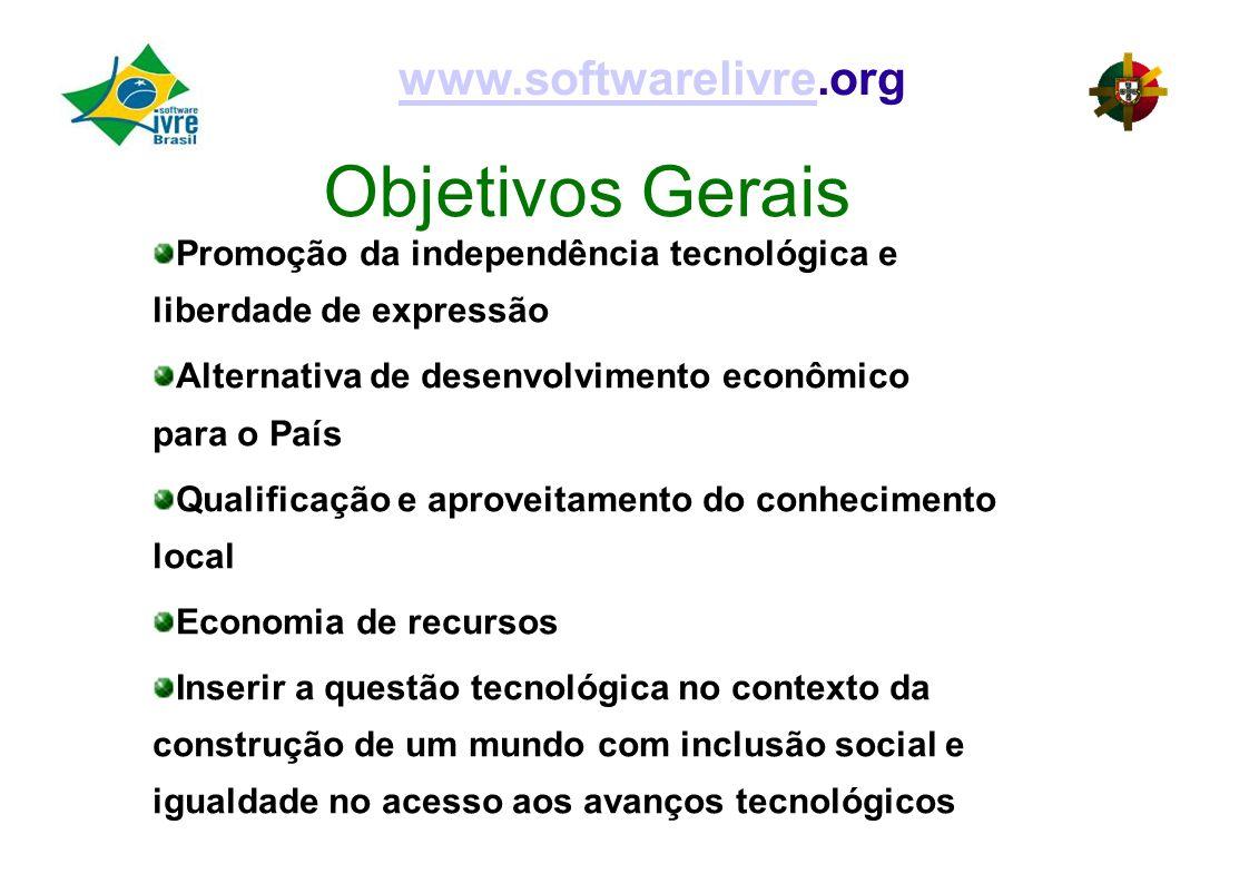 Objetivos Gerais www.softwarelivre.org