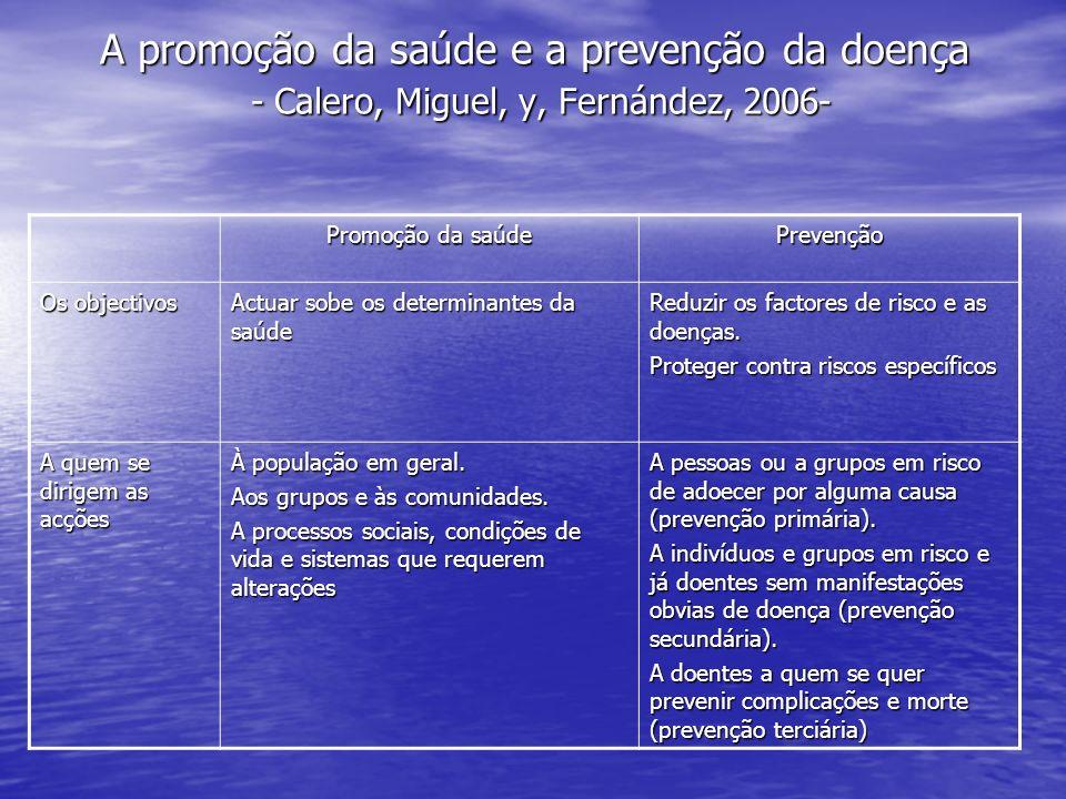A promoção da saúde e a prevenção da doença - Calero, Miguel, y, Fernández, 2006-
