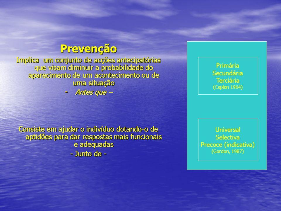 Prevenção Implica um conjunto de acções antecipatórias que visam diminuir a probabilidade do aparecimento de um acontecimento ou de uma situação.