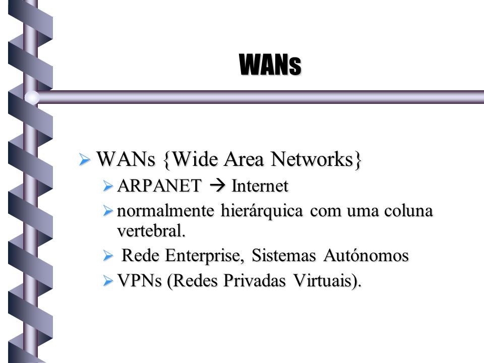 WANs WANs {Wide Area Networks} ARPANET  Internet
