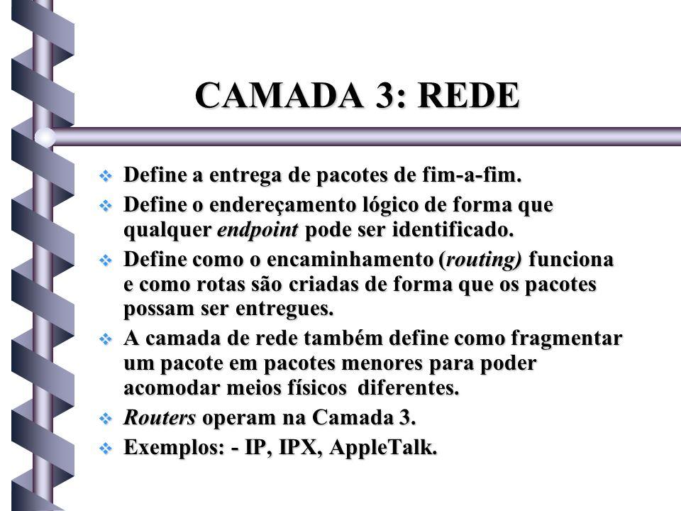 CAMADA 3: REDE Define a entrega de pacotes de fim-a-fim.