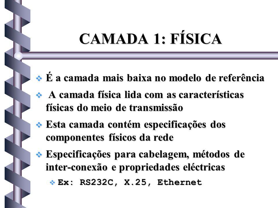 CAMADA 1: FÍSICA É a camada mais baixa no modelo de referência