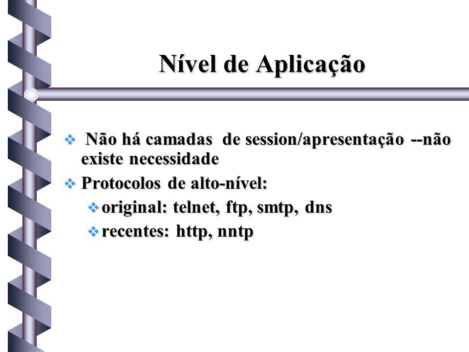 Nível de Aplicação Não há camadas de session/apresentação --não existe necessidade. Protocolos de alto-nível: