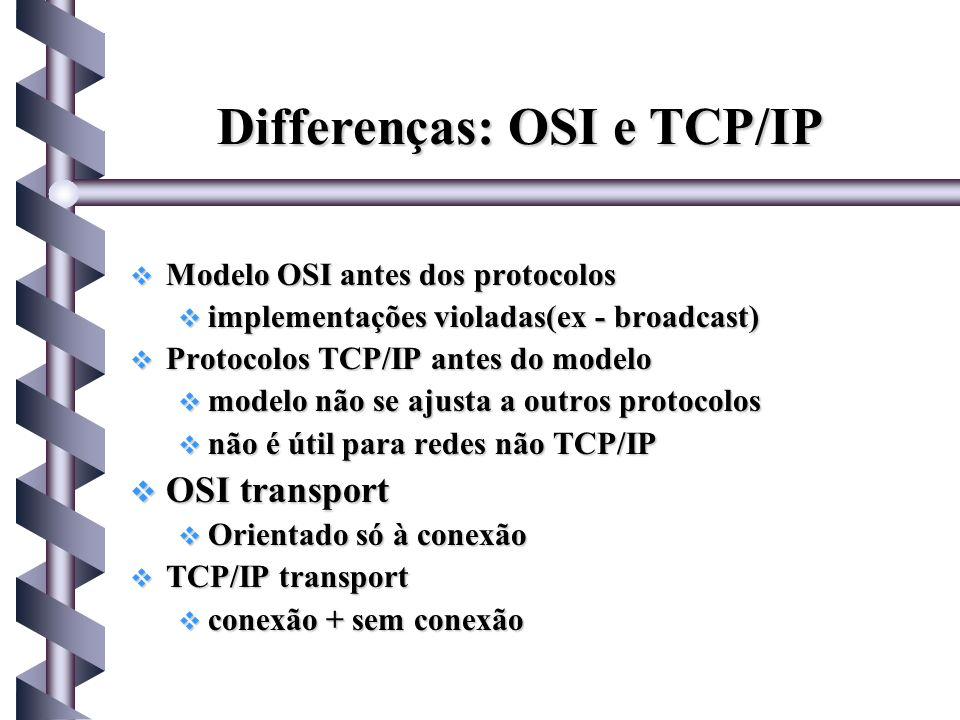 Differenças: OSI e TCP/IP