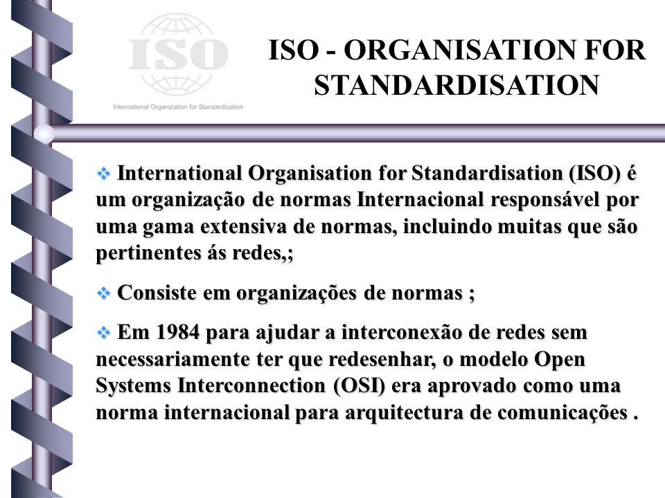 ISO - ORGANISATION FOR STANDARDISATION