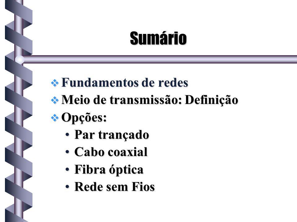 Sumário Fundamentos de redes Meio de transmissão: Definição Opções: