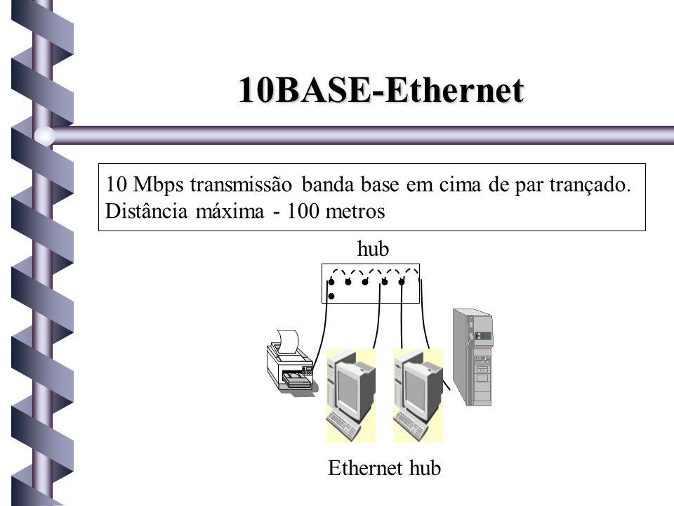 10BASE-Ethernet 10 Mbps transmissão banda base em cima de par trançado. Distância máxima - 100 metros.