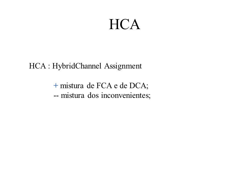 HCA HCA : HybridChannel Assignment + mistura de FCA e de DCA;