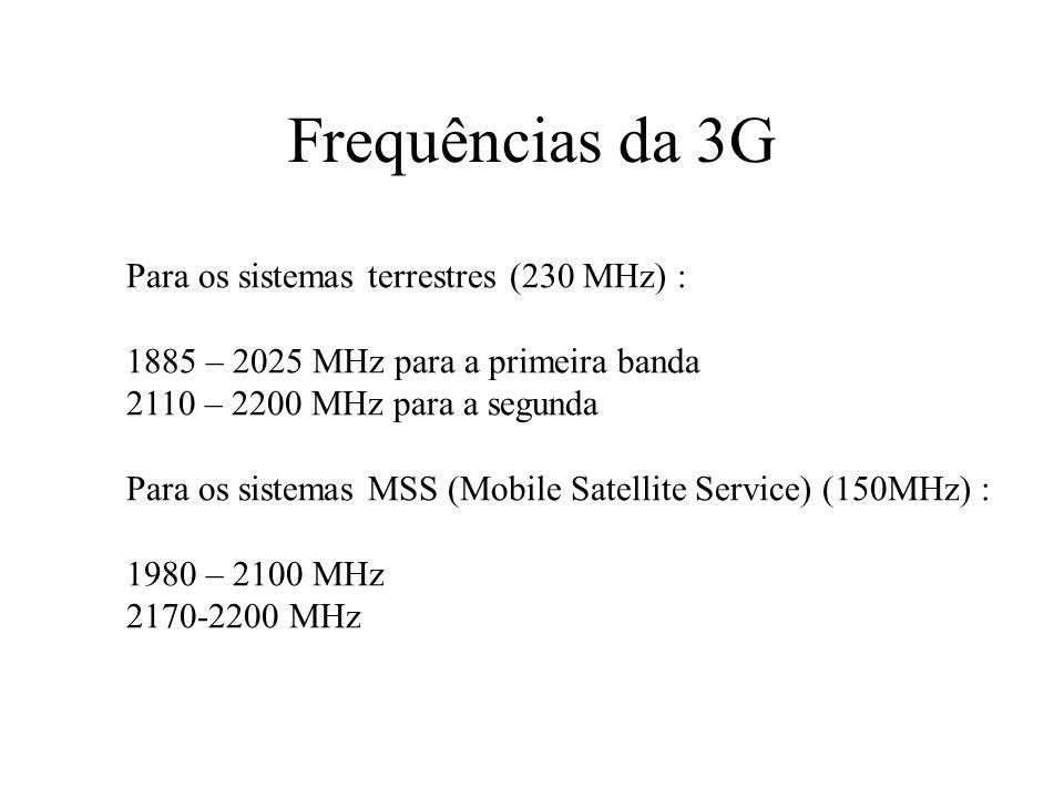 Frequências da 3G Para os sistemas terrestres (230 MHz) :