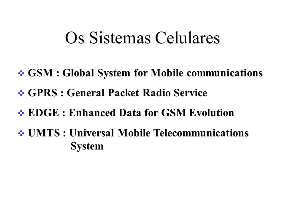 Os Sistemas Celulares GSM : Global System for Mobile communications