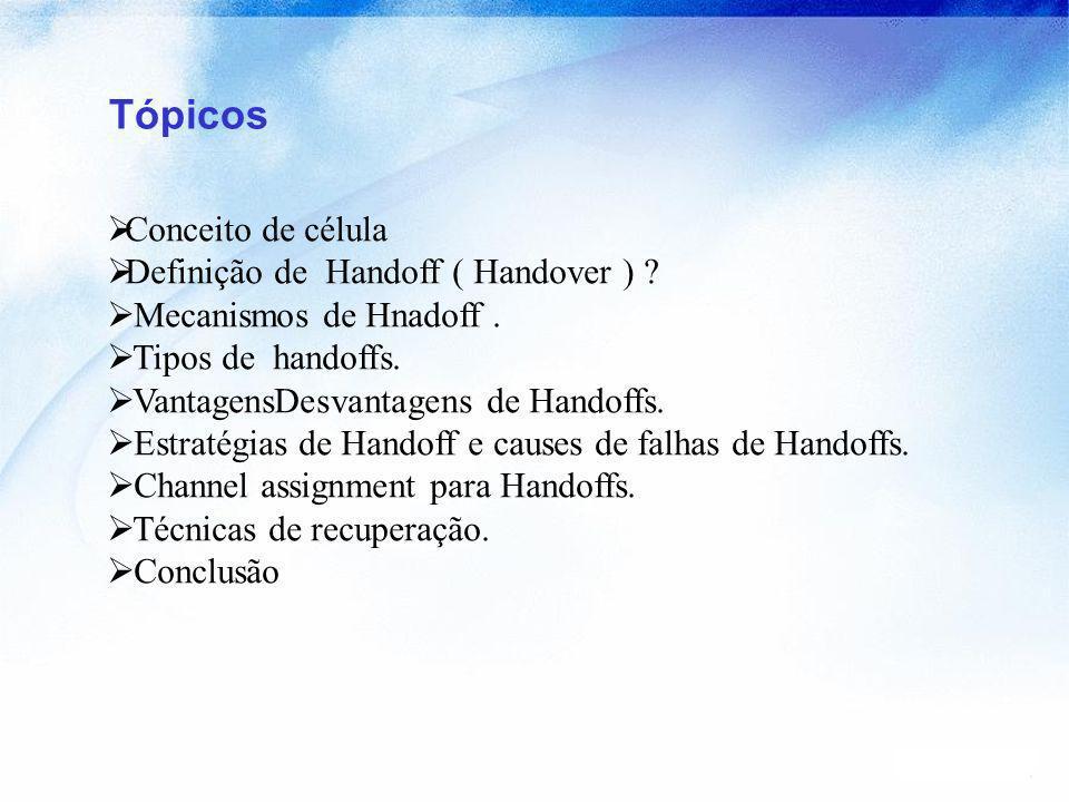 Tópicos Conceito de célula Definição de Handoff ( Handover )