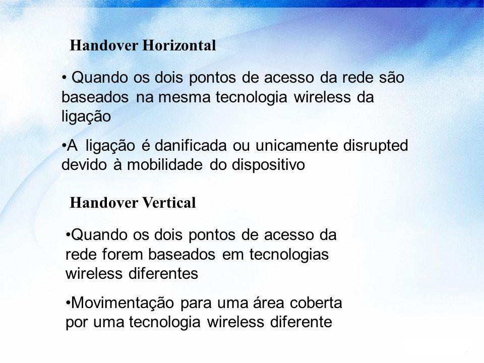 Handover Horizontal Quando os dois pontos de acesso da rede são baseados na mesma tecnologia wireless da ligação.