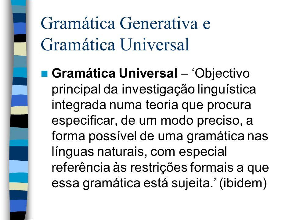 Gramática Generativa e Gramática Universal