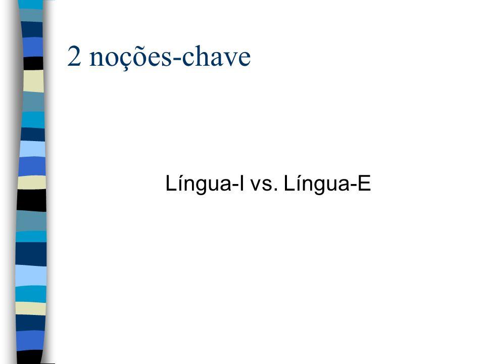 2 noções-chave Língua-I vs. Língua-E