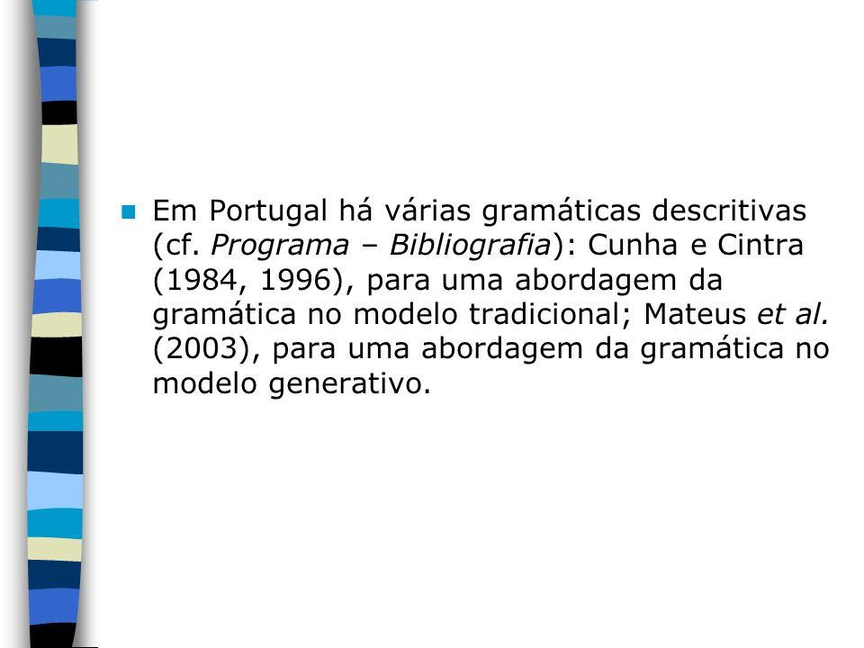 Em Portugal há várias gramáticas descritivas (cf