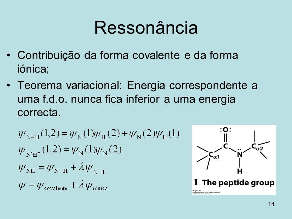Ressonância Contribuição da forma covalente e da forma iónica;