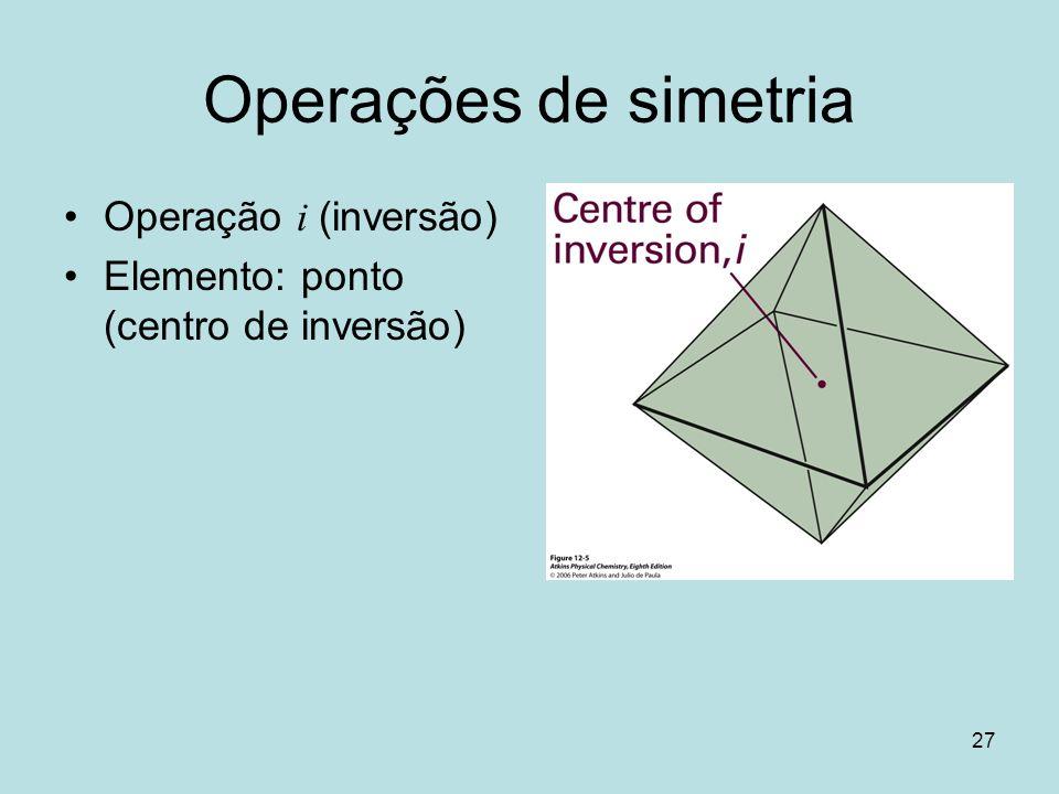 Operações de simetria Operação i (inversão)
